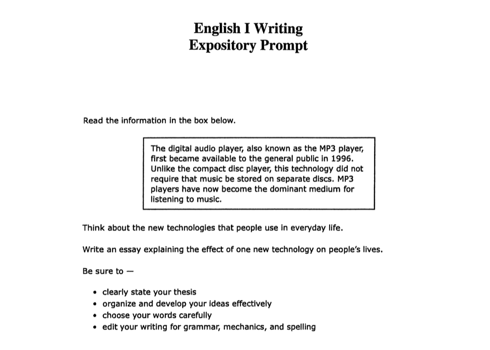 Writing Expository Essay Prompts